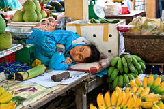Sleeping vendor Royalty Free Stock Photography