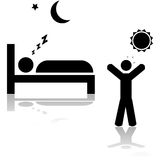 Sleeping and waking up. Icon illustration showing one person sleeping at night and another waking up during the day Stock Images