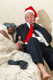 Sleeping wife and drunk husband Royalty Free Stock Photo