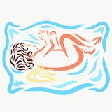 A sleeping winged child, a pattern.  Royalty Free Stock Photo