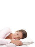 Sleeping woman. Woman sleeping isolated on white background Royalty Free Stock Images