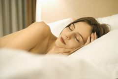 Sleeping woman. Royalty Free Stock Photo