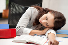 Sleeping woman with book Royalty Free Stock Image