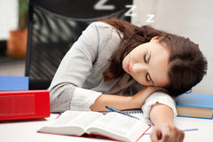 Sleeping woman with book Stock Photo