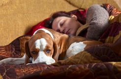 Sleeping woman and its dog Stock Image