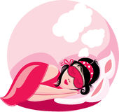 Sleeping woman, picture in pink colors Stock Photography