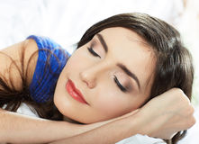 Sleeping woman portrait. Close up, closed eyes royalty free stock photos