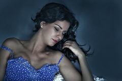 Sleeping woman. Pretty woman fast asleep, with copy space Royalty Free Stock Photos