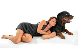 Sleeping woman and rottweiler Stock Photo