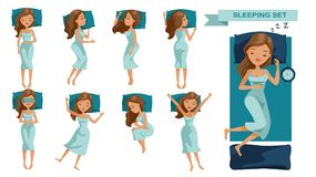 Sleeping woman. Set. Many views of sleep. Front, side, rear, top. lie on the tummy, Sleep on one`s side, lie supine, Beautiful cartoon women Cute girl in Royalty Free Stock Images