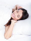 Sleeping woman wake up in the morning Stock Photos