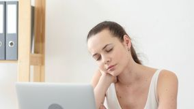 Sleeping Woman at Work in Office, Feeling Tired at Office Royalty Free Stock Photo