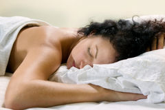 Sleeping woman royalty free stock photography