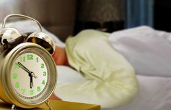 Sleeping Women and Alarm Clock Stock Image