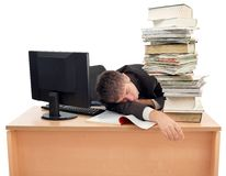 Sleeping at Work. Businessman Sleeping on the Office Desk Stock Photography