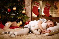 Sleeping on x-mas eve Royalty Free Stock Photos
