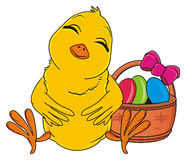 Sleeping yellow bird and easter`s basket Royalty Free Stock Photos