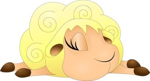 Sleeping yellow lamb with big eyelashes stock illustration