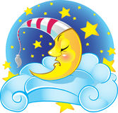 Sleeping yellow vector moon Royalty Free Stock Images