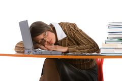 Sleeping young businesswoman Stock Image