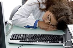 Sleeping young doctor Stock Photography
