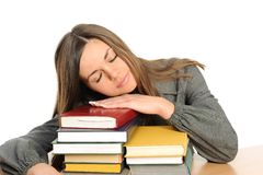 The sleeping young girl  and the books Royalty Free Stock Photos