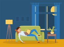 Sleeping young man at home vector illustration Stock Image