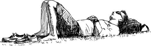 Sleeping young man. Vector drawing of the man sleeping on a lawn in the city park Stock Photos
