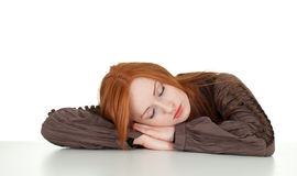 Sleeping young red hair woman Stock Photo
