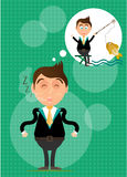 Sleeping, young, standing, businessman has dream. Sleeping, young, standing, man has dream about fishing. He caught golden fish. Green background with pattern Royalty Free Stock Images