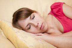 Sleeping Young Woman Stock Photos