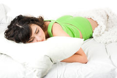 Sleeping young woman Stock Photos