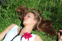 Sleeping young woman Royalty Free Stock Photos