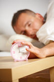 Sleepless man. Sleepless night. Man in bed suffering from insomnia stock photos