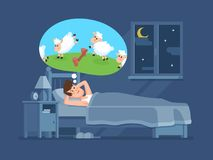 Sleepless man in bed trying to fall asleep counting sheeps. Count sheep for insomnia cartoon vector concept. Sleepless man in bed trying to fall asleep counting royalty free illustration