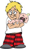 Sleepless man with crying baby. Character illustration of a exhausted dad with his newborn Royalty Free Stock Photo