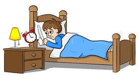 Sleepless man wakes up in the morning by the alarm clock Royalty Free Stock Image