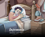 Sleepless vector character. Sleeplessness and insomnia, bedroom person illustration Royalty Free Stock Photo
