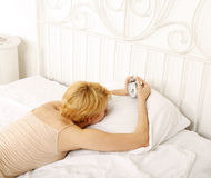 Sleepless woman. In the bed royalty free stock images