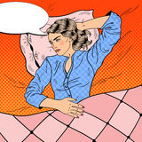 Sleepless Young Woman Lying in Bed. Insomnia. Pop Art retro illustration. Sleepless Young Woman Lying in Bed. Insomnia. Pop Art retro vector illustration Royalty Free Stock Photos
