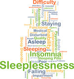 Sleeplessness background concept. Background concept wordcloud illustration of sleeplessness Royalty Free Stock Photo