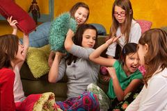 Sleepover Pillow Fight Stock Photos
