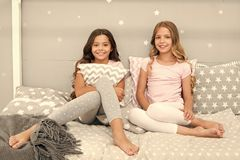 Sleepover time for fun gossip story. Best friends forever. Soulmates girls having fun bedroom interior. Childhood. Friendship concept. Girls best friends stock photo