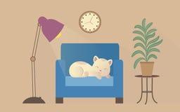Sleepping cat on an armchair vector illustration