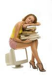 She sleeps with books Royalty Free Stock Photography