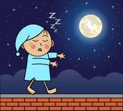 Sleepwalker идя на крышу иллюстрация вектора