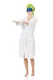 Sleepwalking woman in bathrobe. Royalty Free Stock Images