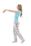 Sleepwalking woman isolated on white background Stock Photos
