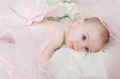 Sleepy Angel Baby. Beautiful baby with blue eyes wearing fairy wings or angel wings. Tired angel baby lays her head down Royalty Free Stock Photography
