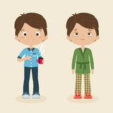 Sleepy and awake boys. Two boys/men characters: awake and cheerful with cup of coffee and sleepy or tired boy. Vector cartoon illustration Royalty Free Stock Image